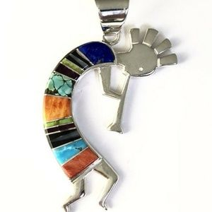 Native American Sterling Silver Inlay Pendant